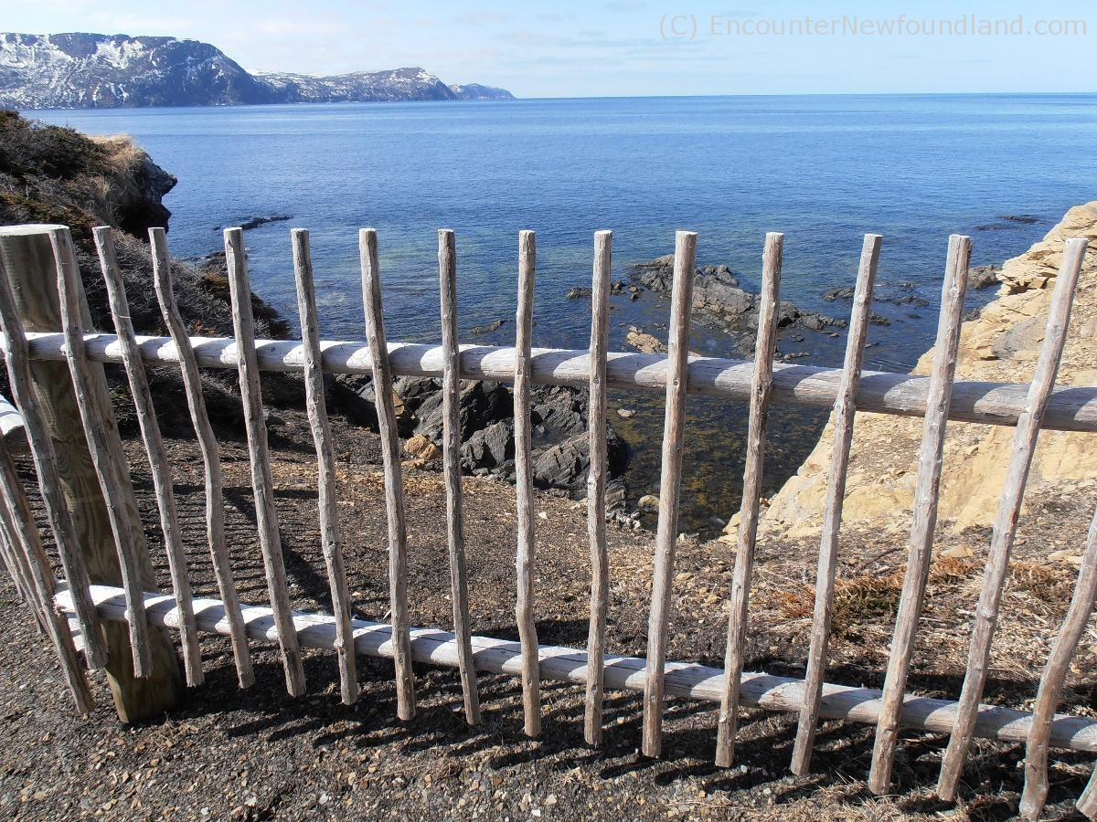Fence on cliffs at Lobster Cove